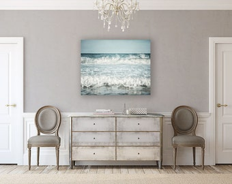 Canvas Wall Art: Beach Decor, Large Ocean Art, Blue Seascape, Coastal Decor Canvas Print, Beach Decor, Blue Ocean Canvas Gallery Wrap