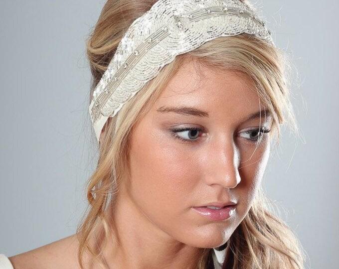 Crystal Silver & Ivory Headband Handcrafted Art Deco Grosgrain Ribbon Hair Wrap or Belt Bridal Headpiece Wedding Bridesmaid 1000600