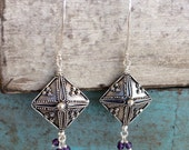 Long Boho Style Bali Sterling Silver Rhombus Earrings with Tiny Amethyst Dangle Accents -- Statement Earrings, February Birthstone