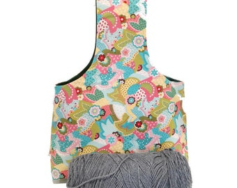 Large Spring Paisley Flower Yarn Bag Project Tote S111