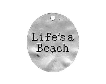 4 Life's a Beach Pendants in Silver Tone - C2396