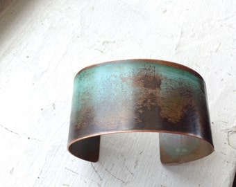 Copper Patina Cuff - 1 1/4 inch wide