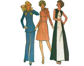 1970s Size 18 Bust 40 Maxi Dress Tunic Top Pants Dress UNCUT 70s Vintage Sewing Pattern McCalls 3411