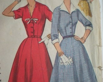 1955 Simplicity Dress Sewing Pattern 1427 with Detachable Collar and Cuffs, Neck and Sleeve Trim, Size 16 1/2, Bust 35