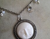 Moon Face Necklace Fantasy Jewelry 24 Inch White and Silver Celestial Accessory