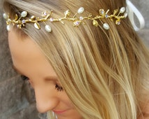 Bohemian Bridal Headpieces, Rhinestone Floral Leaf Hair Piece with Ribbon Tie