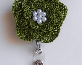 ID Badge Holder Crocheted Flower Retractable ID Reel