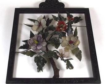Hand Carved Framed Stone Flower Tree: Chinese Gemstone Sculpture Wall Hanging with Jade, Agate, Carnelian, Amethyst, Rose Quartz
