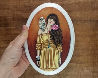 Girl with Owl Friend (Original Acrylic Painting)