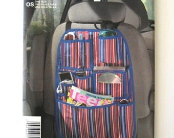 2000s Car Organizer Pattern Simplicity 1751 Pockets for CD/DVD Phone Ear Bud Water Bottle Glasses Pens Magazines Sewing Pattern UNCUT