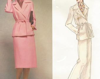 1970s Pierre Balmain Womens Wrap Jacket, Straight Legged Pants Straight Skirt Vogue Paris Original Sewing Pattern 1601 Size 14 Bust 36 FF