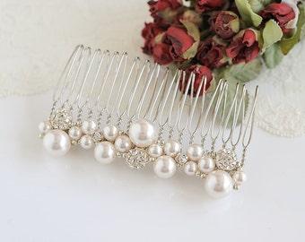 Pearl Cluster Bridal Hair Comb, Crystal Wedding Hair Comb, Swarovski Pearl Hairpiece, Bridal Hair Clip, Vintage Style Hair Jewelry, TASMIN
