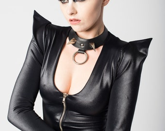 Vanta Black Leather Steel Double Claw Choker
