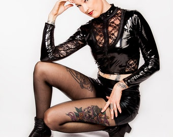 Vanta Black PVC and lace Crop Jacket / Gothic Bolero Top Shirt