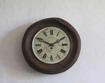 French Antique Tole Wall Clock Romantic Tea Stained, Rusty, Shabby Chic