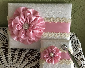 Guest Book and Pen Set in Rose Peta; Pink, Ivory Lace and Pearls, Quinceanera Guest Book, Bridal Shower Guest Book, Christening, Baptism