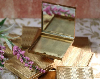 1 Vintage Brass Compact with Mirror
