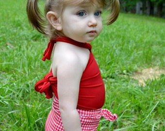 Girls Swimwear Toddler Swim Suit Baby Bathing Suit in Red Gingham Print with True Red One Size Wrap Around Swimsuit Infant Girl Swimsuit