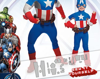 Simplicity Pattern 1030 Children's and Men's Captain America Costume Sizes 3-8/S-XL (34-48) NEW