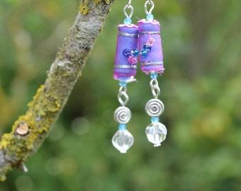 boho textile earrings, beaded earrings, festival jewellery, boho jewellery, handmade beads, dangle earrings, textile beads, pink and blue