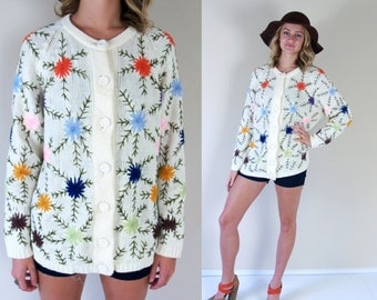 vintage 60s COLORFUL EMBROIDERED floral CARDIGAN Large folk knit sweater rainbow bold retro boho hippie