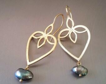 Heart Earrings in 18k Solid Gold . Lotus Heart Earrings . Black Pearl Earrings . Tahitian Pearl Earrings . Handcrafted Fine Jewelry
