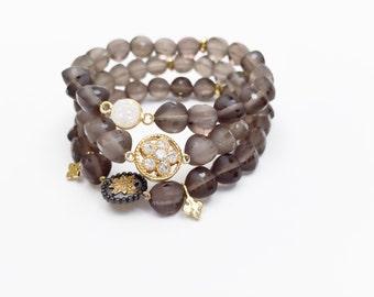 Smokey Quartz Bead Bracelets with Druzy and Gold Vermeil Connectors