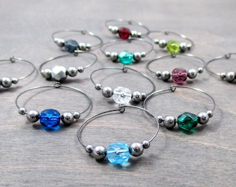 12 crystal wine charms | gift box | gunmetal wine glass charms - unique wine gifts - wine accessories - wine party - drink markers NPC121