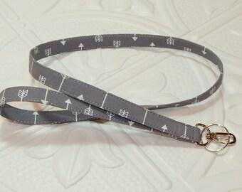 Lanyard - Id Badge Holder - Id Holder - Key Lanyard - Teacher Lanyard - Fabric Lanyard - Key Chain - Gray Arrow Lanyard