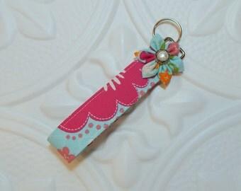 Key Fob - Key Chain - Fabric Key Fob - Cute Key Fob - Blue And Pink