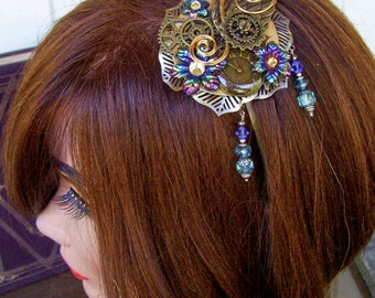 Fascinator (F604) - Bronze Wings and Gears - Brass Headband - Brass Wire and Crystal Dangles - Swarovski Crystals
