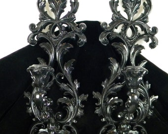 Black V I N T A G E Pair of Burwood Wall Decorative Candle Sconces - Gothic Home Decor - Hollywood Regency-Paris Apartment Chic