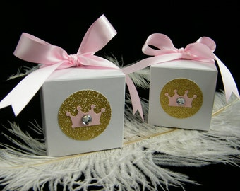 Pink and Gold Little Princess Crown Baby Shower Gift Boxes / Empty Favor Box / 3x3x3 / Set of 6 / First Birthday Girl / Fully Assembled