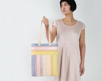 SALE 20% Leather Tote Pastel Stripes, Shoulder Bag, Leather Purse, Laptop Bag, Totebag, LAST ONE