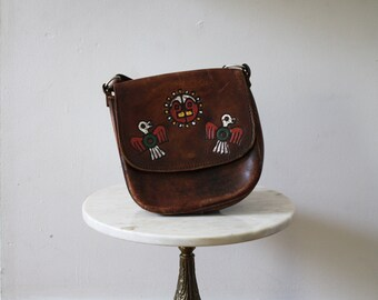 Bag Native Leather Brown Purse Painted Eagles - 1970s Vintage
