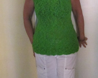 Vintage Kelly Green Sweater Vest / 1960s Long Knitted Vest / 60s Large Pullover Tunic