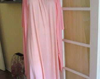 Vintage Peach Nightgown With Coral Robe / 60s Peignoir Set Medium