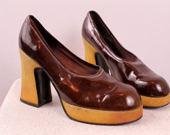 Vintage 70s Disco Glam - Reddish Brown Patent Leather - Platform - High Heel Shoes - Chunky Heels - 8.5 - Made in Italy