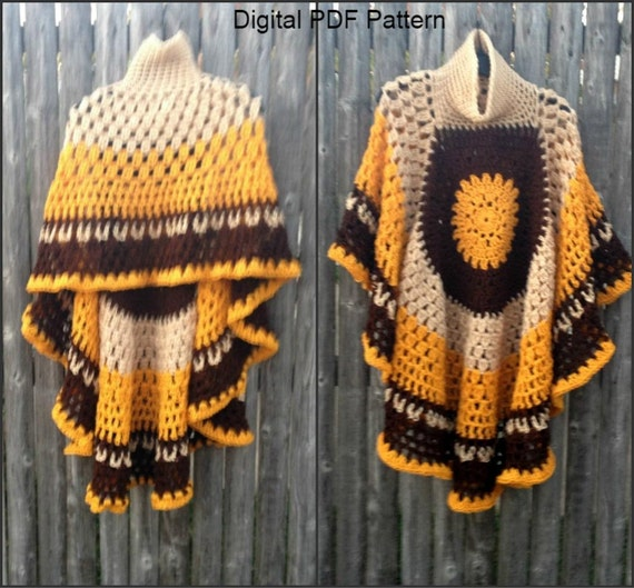 Circular Asymmetric Poncho Shawl Crochet Pattern *Updated* Short Shawl Version PDF File Is not a finished product. It is a PDF Pattern