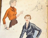 Vogue 6887 Kimono Sleeve Blouse, Tuck in Pullover, Shawl Collar, Women's Misses Easy Vintage 1940s Sewing Pattern Bust 30 Unprinted Complete
