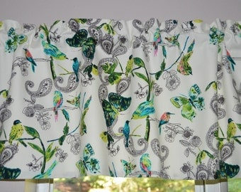 Kitchen Valance . Cafe Curtains . French Art Gallery . Birds and Butterfly Valance . C'est La Vie .  Handmade by SeamsOriginal