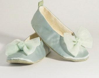 Sage Green Toddler Shoes, Satin Flower Girl Ballet Slipper, Baby Ballet Flat, Wedding Shoes, Dance, Little Girls Shoe, Baby Souls Baby Shoe