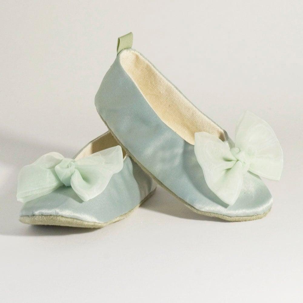 Sage Green Toddler Shoes Satin Flower Girl Ballet Slipper