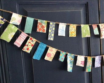 Scrappy Banner/ Floral Banner/ Party Banner / Photo Prop in Spring Flowers Garland