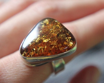 Valentines Sale! 20% off! Honey Amber hand-forged ring, Adjustable