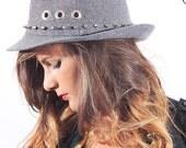 Punk grey fedora hat, sil...