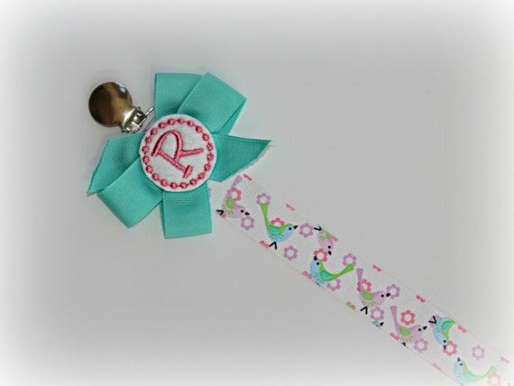 Monogram Pacifier Clip Holder Teal and Pink Girl Personalized Nuk Soothie Mam Paci Holder Personalized Newborn Gift