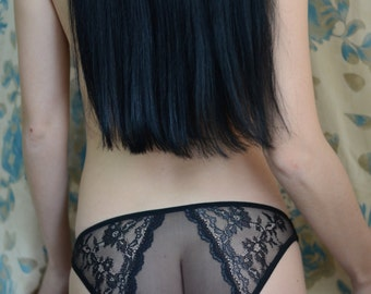 Women Sleepwear & Intimates Panties Handmade Lingerie The Romantic Lacey Black Panties MADE TO ORDER