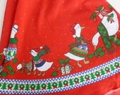 Round Christmas Tablecloth Red with Geese in Ugly Christmas Sweaters by Sunweave Linen