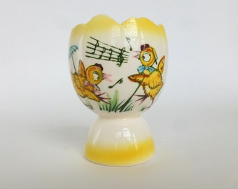 Ceramic Egg Cup with Singing Yellow Chicks